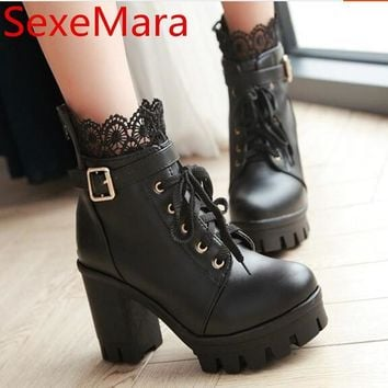 New fashion platform boots women lace up thick heel punk rock shoes women autumn ladie