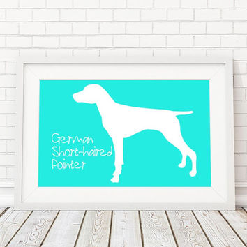 German Shorthaired Pointer Silhouette Modern Dog Print - Custom Wall Art, Personalized Dog Print, Modern Dog Home Decor, Dog Portrait