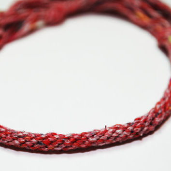 Kumihimo Unique Recycled Yarn Bracelet Red and by epicstitching