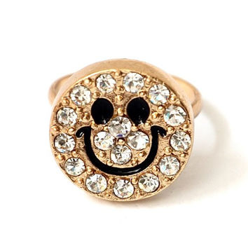 Crystal Smiley Ring Adjustable Happy Face Gold Tone RB24 Retro Bling Smile 90s Fashion Jewelry