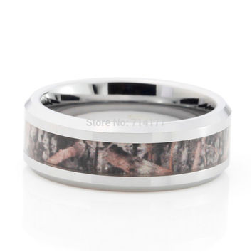 -8mm Camouflage Hunting s Tungsten Ring Camo Beveled Edge Polished Wedding Band Trees