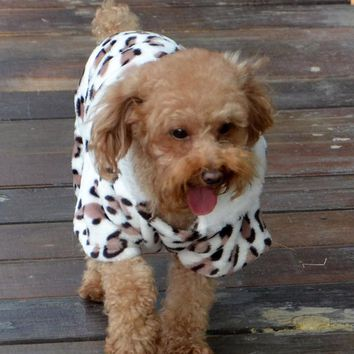 Fashion Dog Clothes Warm Fleece Pet Hooded Coat Leopard Costume Sweater Clothing for Dog Chihuahua Yorkshire Small Dog 29S1