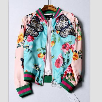 Painting of flowers and printing leisure loose zipper cardigan coat