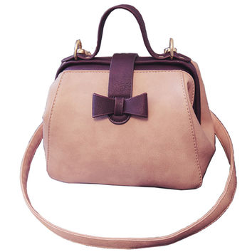 2016 Women's Handbag Vintage Doctor Bag Leather Cute Bow Small Handbags Women Pink Shoulder Messenger Crossbody Bag Tote Bolsa
