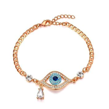 Crystal Eyes Charm Bracelets Cuff Link Chain Bracelet Bangle