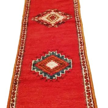 Hallway Runner Rug from Morocco - Taznacht Coral Handmade Wool Carpet - 115 x 27 inches