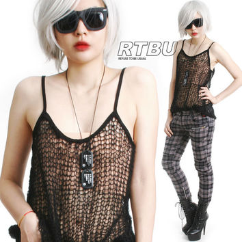 SALE 19.80 RTBU Goth Punk See Through Acrylic Mohair Loose Knit Hole Crochet Fish Net Tatoo Cami Tank