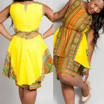 Yellow Ethnic Tribal Print Sleeveless Layered Dress