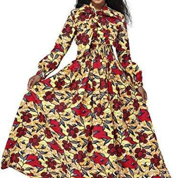 Women African Ankara Dashiki Print Maxi Long Dress