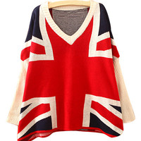 Union Jack Print V Neck Sweater