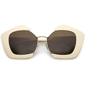 Women's Geometric Pentagon Cut Out Sunglasses C162