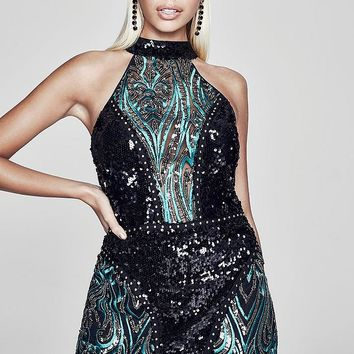 Premium Olivia Bandeau Sequin Stud Mini Dress | Boohoo