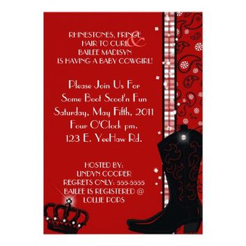 RHINESTONES, FRINGE & RED COWGIRLS Invitation from Zazzle.com