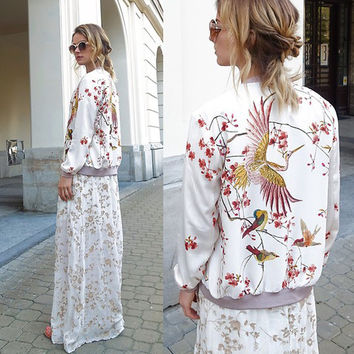 Fashion Cranes Begonia Printing White Short Jacket