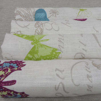 Linen Dinner Napkins. White linen napkins 13.5'' x 13.5''  Cloth napkins Pink, blue and green butterfly napkins