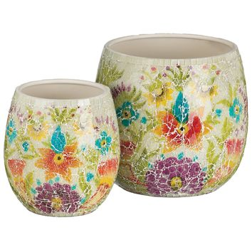 White Floral Handcrafted Metal and Crackled Glass Planters (Set of 2)