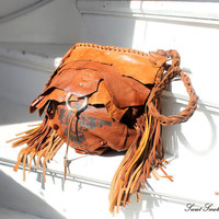 Fringed leather tribal aztec eagle bags collection navajo purse indians motorcycle boho festival raw fringe bag thunderbird bag indians boho
