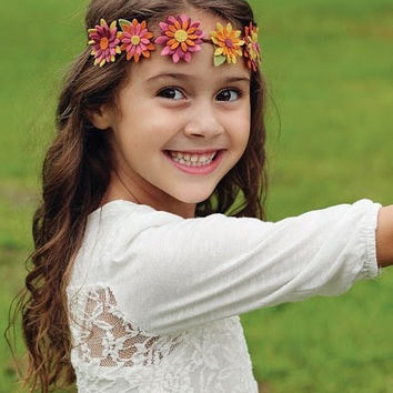 Felt Flower Crown Headband for Girls in Mustard Yellow Plum Orange Pink- Fall Hair Accessory for Teens, Toddlers, Babies- Daisy Chain Autumn