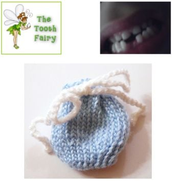 Blue Tooth Fairy Bag, Baby Boy, Hand Knit, Baby Shower Gift, New Mom, Tooth Fairy