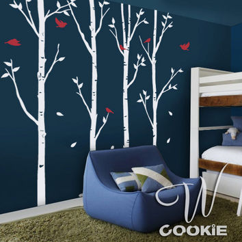Birch Trees And Birds Nursery Wall Decal By Wcookie On Etsy