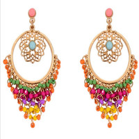 Boho Style Vintage Hollow Out Drop Earring Resin Beaded Vintage Earrings = 1946052164