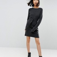 ASOS Knitted Mini Dress with Belt at asos.com