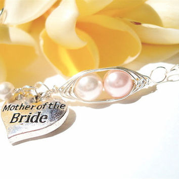 Mother of the Bride - Personalized Bracelet - 2 peas in a pod with heart charm - wedding jewelry - Mom Jewelry