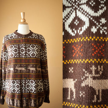 Vintage Reindeer Sweater | Tacky Xmas Ugly Christmas Sweater Cardigan Novelty Holiday Jumper Fair Isle Snowflake Scandinavian Style 70s 80s