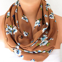Infinity Scarf - Loop Scarf - Circle Scarf - Brown Scarf - Cotton scaf Cowl Scarf with Blue Flowers