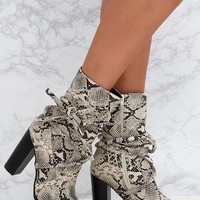 Grey Snake Print Tie Detail Heeled Ankle Boots