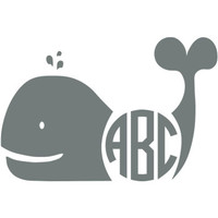 Whale Monogram Decal with Circle Font - Multiple Colors