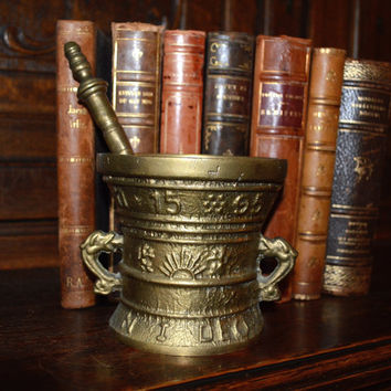 Antique French Bronze Apothecary Mortar and Pestle with Gothic Dolphin Handles