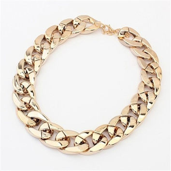 Gold metallic sweater chain necklace Jewelry DS03221 = 1920284036