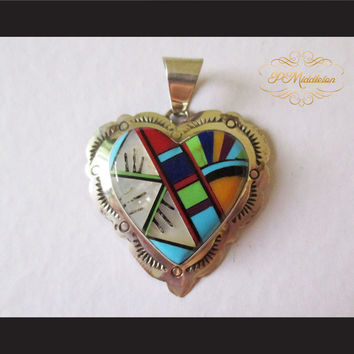 P Middleton Heart Pendant Sterling Silver 925 with Semi-Precious Stones