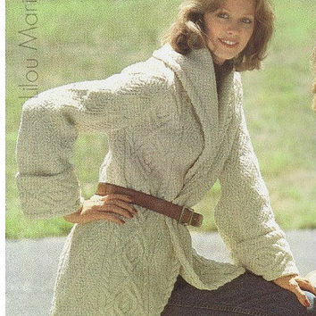 Aran Cardigan Pattern Vintage 70s Coat Pattern Sweater Pattern Jacket Pattern KNITTING PATTERN