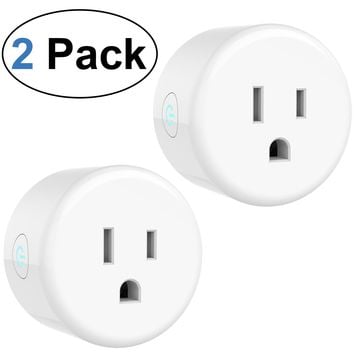 2 Pack WiFi Smart Plug Wireless Smart Socket Outlet Remote Control Devices Socket with Timing Function No Hub Required Works with Amazon Alexa and Google Assistant (US Plug)