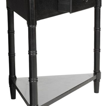 Gomez Corner Table With Storage Drawer Distressed Black