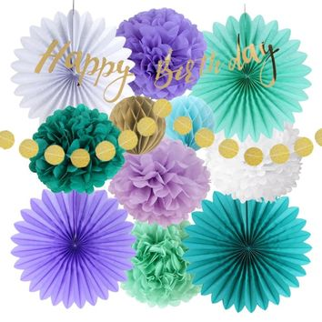 13pcs Mermaid Party Decoration Set Happy Birthday Banner Circle Garland Tissue Paper Fans Pom Pom Honeycomb Balls Birthday Girl