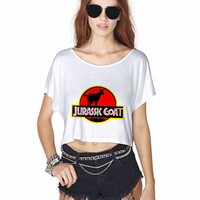 Jurassic Park Jurassic Goat Crop Shirt , Custom Crop Shirt , Woman Crop Shirt