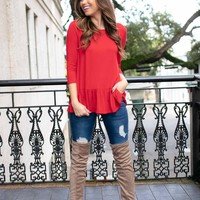 By Your Side Ruffle Hem Top in Red