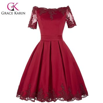 Grace Karin Champagne Dark Red Cocktail Dress Short Sleeve Satin Ball Gown Robe De Cocktail Bandage Party Short Prom Dress