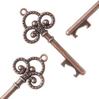 50 Key Bottle Openers - Antique Copper Trinity Keys