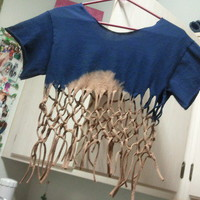 Monique's Fun Accessories | Navy Blue Fringe T-Shirt (Small) | Online Store Powered by Storenvy
