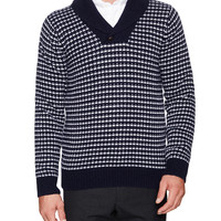 Barque Men's Patterned Shawl Collar Pullover Sweater - Blue -