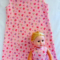 Matching Girl and 18 Doll Dress Pink with White Polka Dots by vw53
