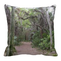 Hiking at Koreshan State Historic Site Throw Pillows