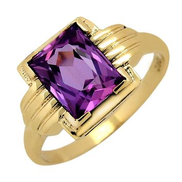 VTG 1920's Natural Purple Topaz Art Deco Gemstone Ring in 10k Solid Yellow Gold