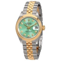 Rolex Lady Datejust 28 Mint Green Steel and 18kt Yellow Gold Jubilee Watch