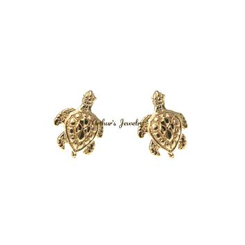 SOLID 14K YELLOW GOLD HAWAIIAN SEA TURTLE HONU EARRINGS DIAMOND CUT POST STUD