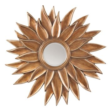 Office Star Gold Orleans Beveled Sun Flower Wall Mirror
